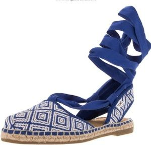 Toms Bella Woven Lace-Up Espadrille Sandal in Blue